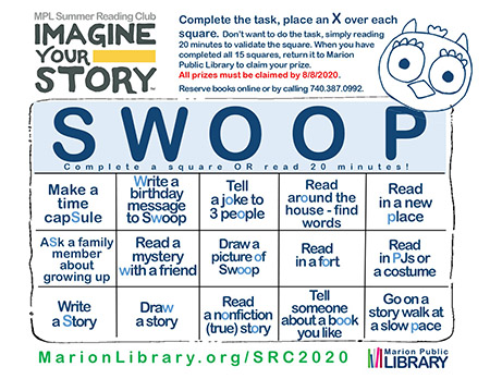 Summer Reading Club 2020 Swoop Playing card