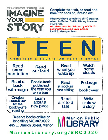 Summer Reading Club 2020 Teens Playing card